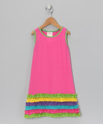 Fuchsia Rainbow Ruffle Dress - Infant & Toddler