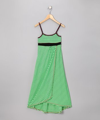 Lime Stripe Maxi Dress - Girls