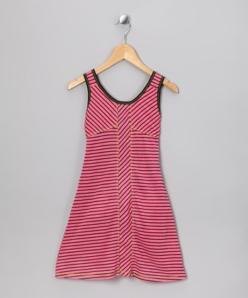 Fuchsia Stripe Dress - Girls