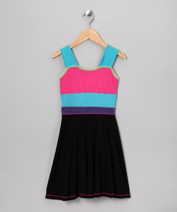 Black Neon Color Block Dress - Girls