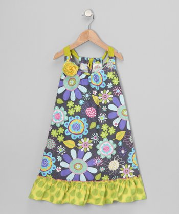 Lime Rosette Ruffle Dress - Girls