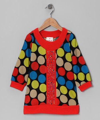 Orange Polka Dot Jewel Dress - Girls