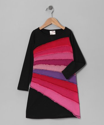 Black & Pink Sun Ray Dress - Girls