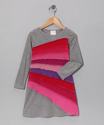 Gray & Pink Sun Ray Dress - Girls