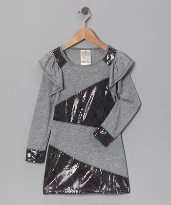 Heather Gray Zigzag Sequin Dress - Girls