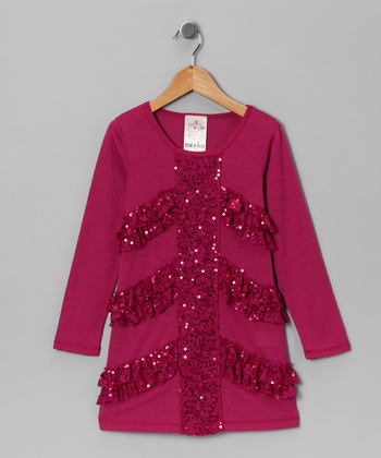 Magenta Sequin Lace Dress - Girls