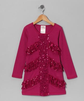 Magenta Sequin Lace Dress - Girls