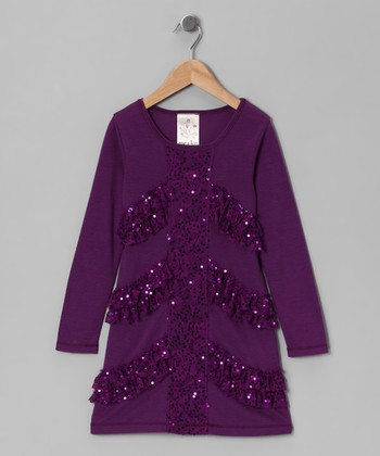 Purple Sequin Lace Dress - Girls