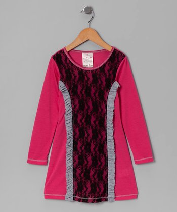Fuchsia Lace Ruffle Dress - Girls
