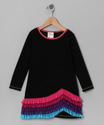 Black New Wave Ruffle Dress - Girls