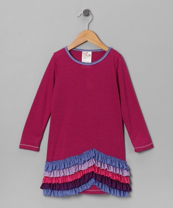 Magenta New Wave Ruffle Dress - Girls