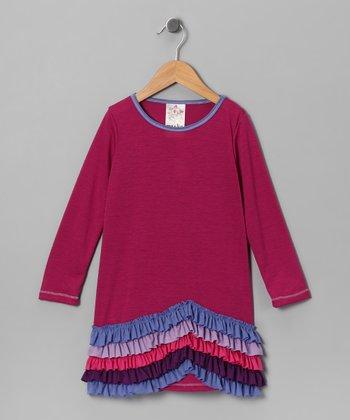 Magenta New Wave Ruffle Dress - Girls