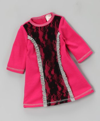Fuchsia Lace Ruffle Doll Outfit