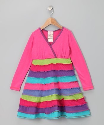 Fuchsia Horizon Surplice Dress - Toddler & Girls