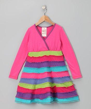 Fuchsia Horizon Surplice Dress - Toddler & Girls