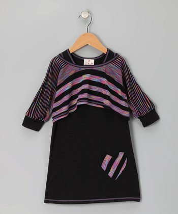 Black Heart Dress & Stripe Crop Top - Girls