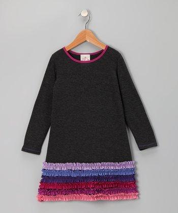 Charcoal Ruffle Dress - Toddler & Girls