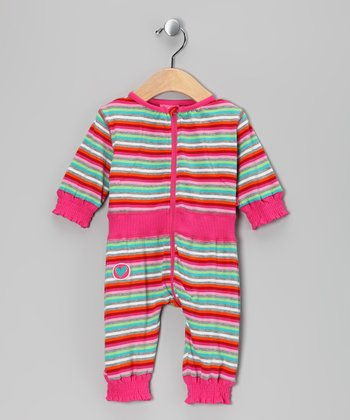 Fuchsia Stripe Olti Playsuit - Infant