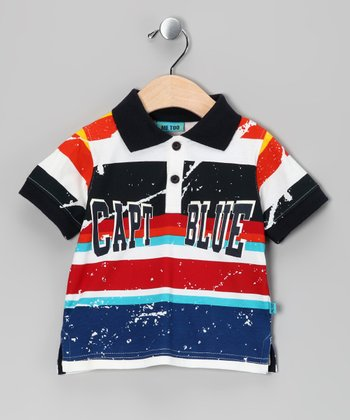 Dress Blue Stripe Tago Polo - Infant & Toddler