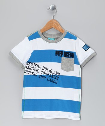 French Blue Stripe Tais Tee - Kids
