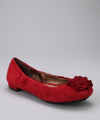 Red Suede Dominic Flat