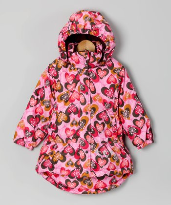 Me Too America Pink Heart Coat - Toddler & Girls