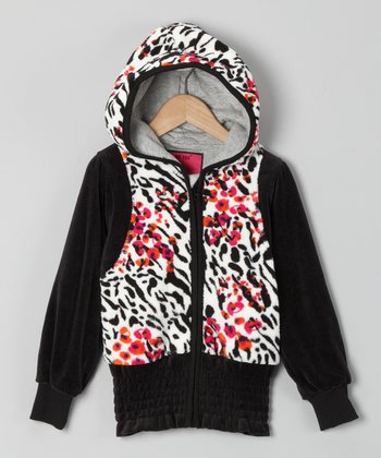 Black Zebra Zip-Up Hoodie - Toddler & Girls