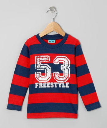 Red & Blue Stripe '53' Tee - Toddler & Boys