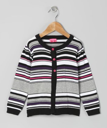 Black & Gray Stripe Cardigan - Girls