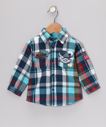 Blue & Red Plaid Junior Button-Up - Infant & Toddler