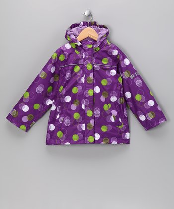 Purple Polka Dot Raincoat - Kids