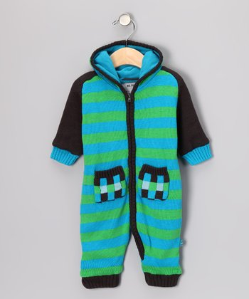 Me Too America Blue & Green Stripe Huki Playsuit - Infant