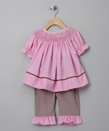 Pink Flower Top & Brown Gingham Pants - Infant & Toddler