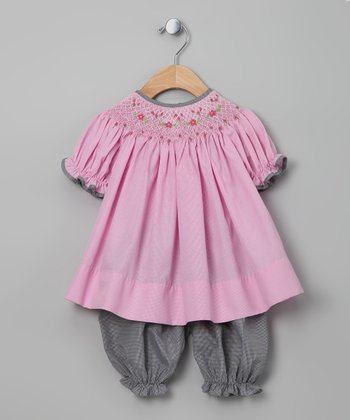Pink Flower Top & Black Gingham Bloomers - Infant & Toddler