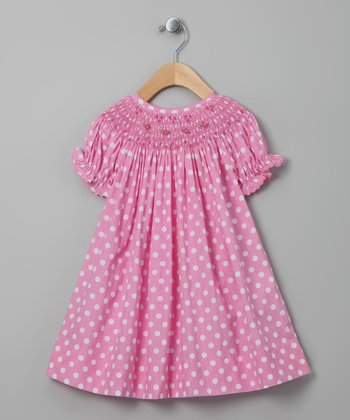 Pink Polka Dot Flower Bishop Dress - Infant, Toddler & Girls