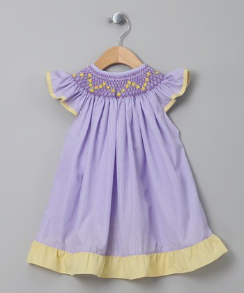 Purple Gingham Angel-Sleeve Dress - Toddler & Girls