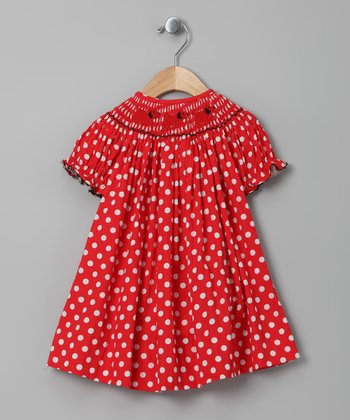 Red Polka Dot Puppy Bishop Dress - Infant, Toddler & Girls