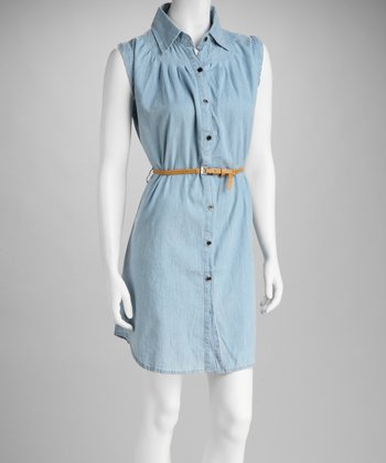 Blue Chambray Sleeveless Belted Dress