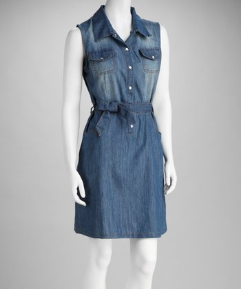 Dark Blue Chambray Tie-Waist Dress