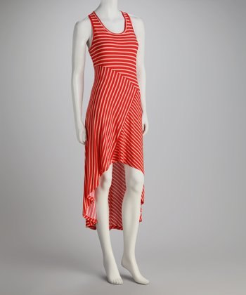 Red Stripe Hi-Low Dress
