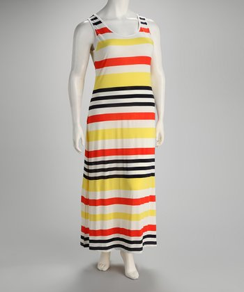 Coral & Yellow Stripe Plus-Size Dress