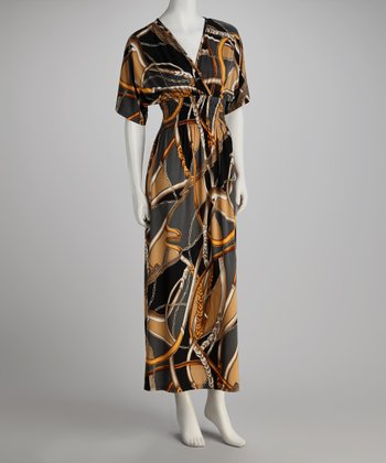 Gold Abstract V-Neck Maxi Dress