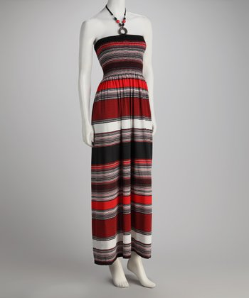 Red Stripe Halter Maxi Dress