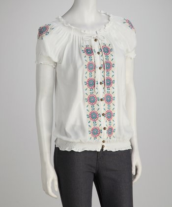 White Embroidered Button-Up Peasant Top