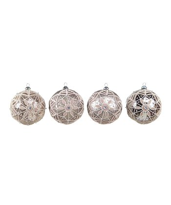 Silver Round Ornament Set