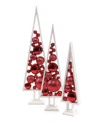Red Tree Ornament Set
