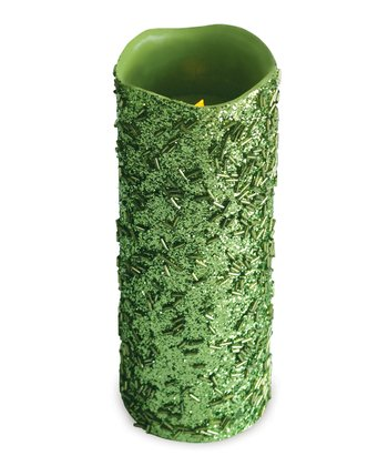 Lime Glitter LED Candle