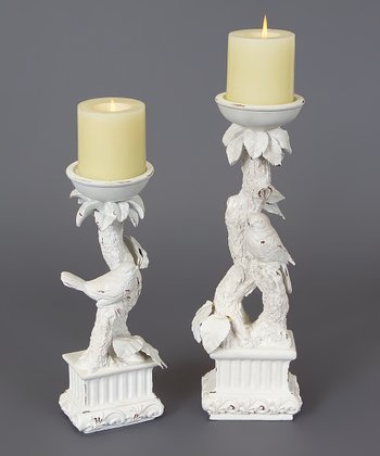 White Bird Candleholder Set