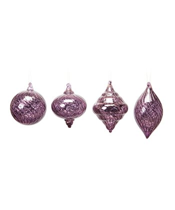 Purple Crackle Ornament Set