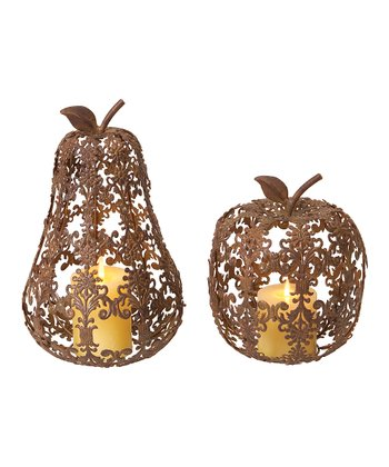 Fleur-de-Lis Apple & Pear Figurine Set